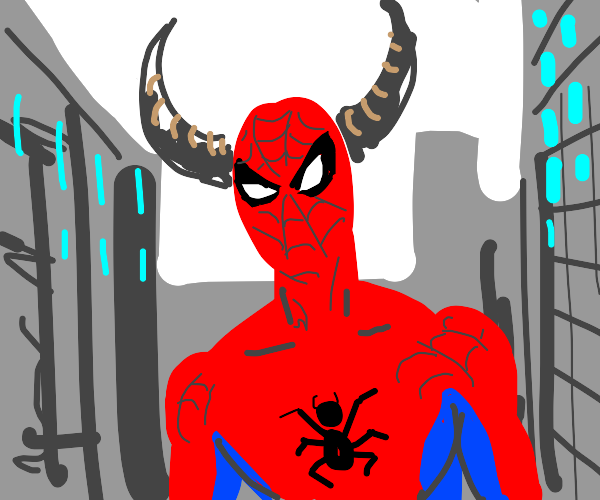 Spiderman with devil horns