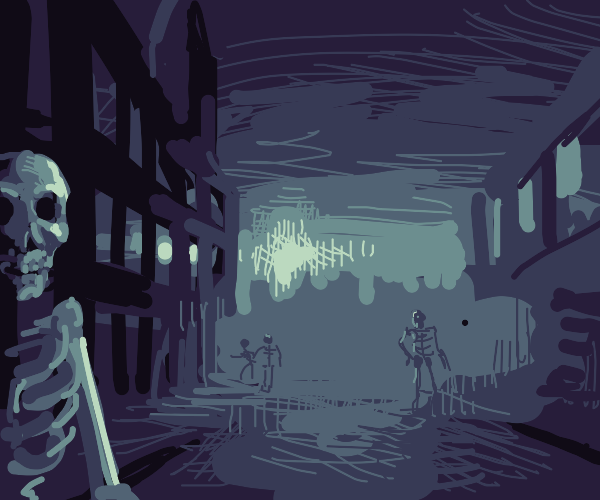 Skeletons on the street at night