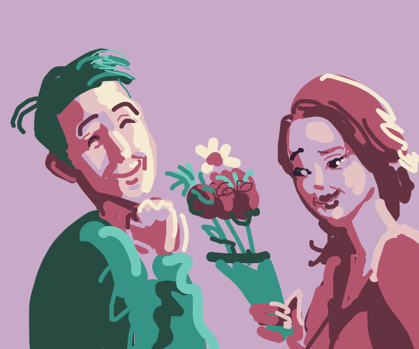 Woman gives flowers to man
