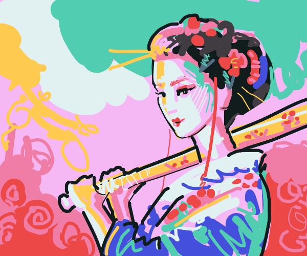 beautiful woman in kimono playing baseball
