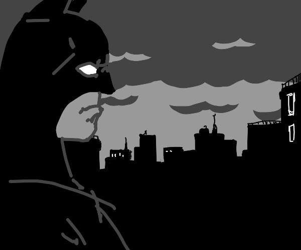 giant batman looks at city