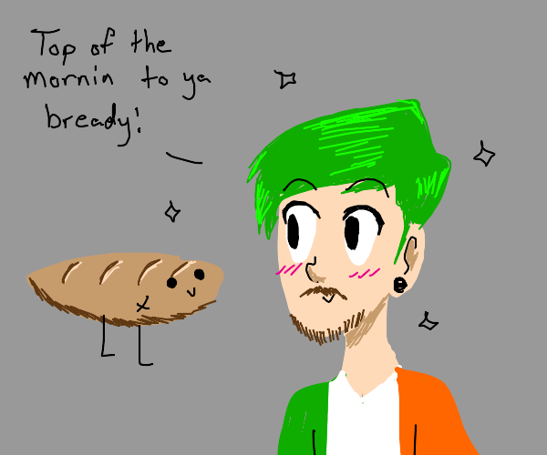 cute jacksepticeye looking at bread man