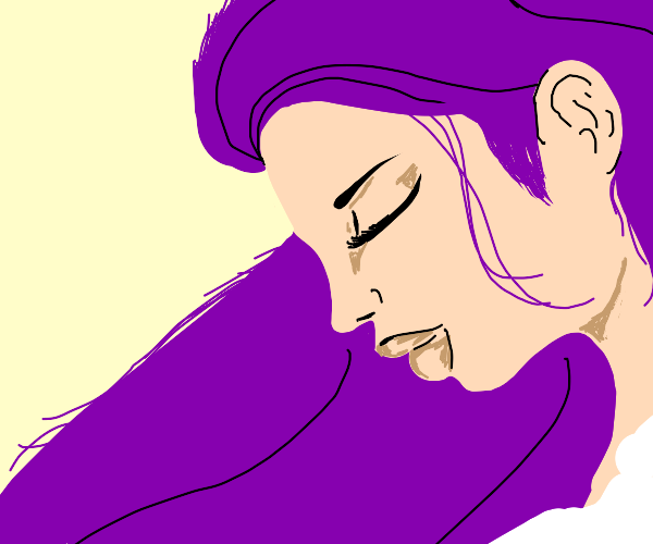 Girl with purple hair (really good drawing!)