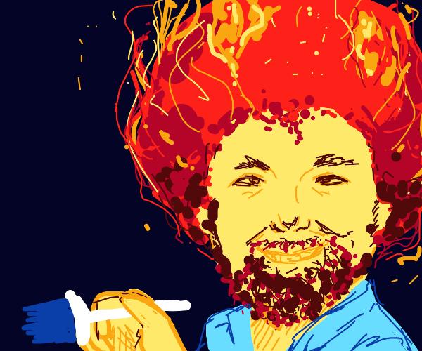 Fire afro Bob Ross