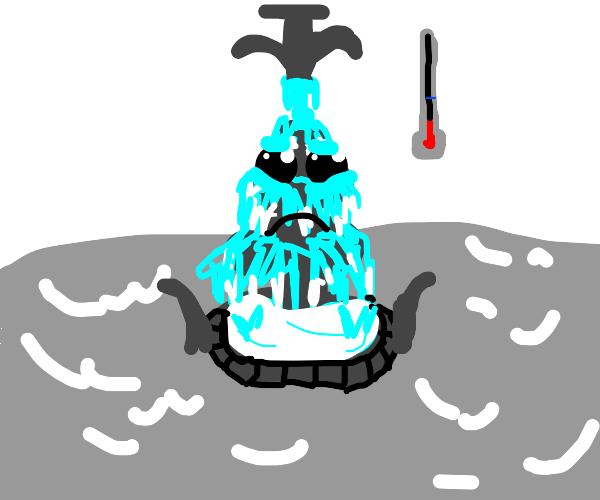 A freezeing fountain