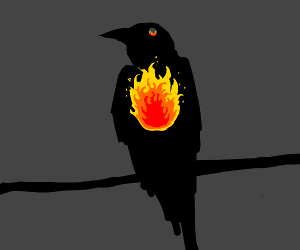 Raven with fire inside