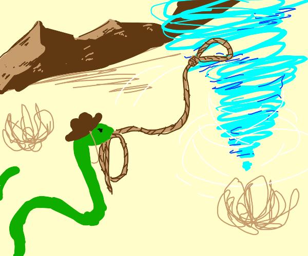 Snake cowboy wrangles a tornado