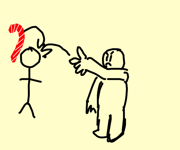 guy throws candy cane at stickman
