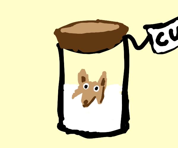 Dog in a jar