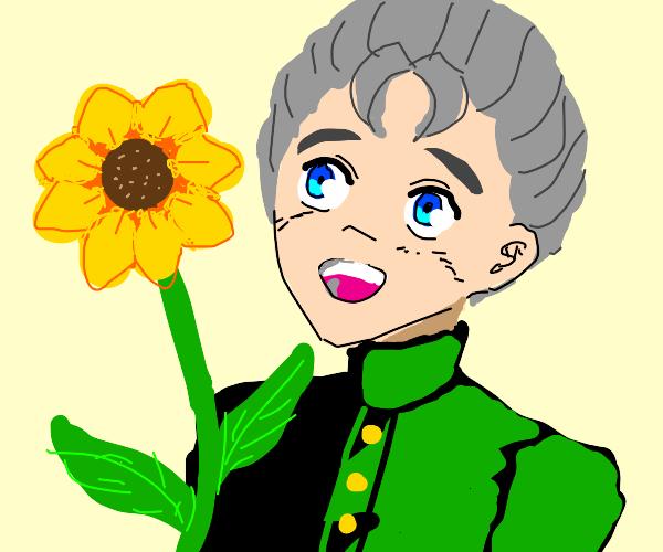 kokichi with a flower