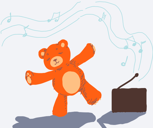 orange bear dancing