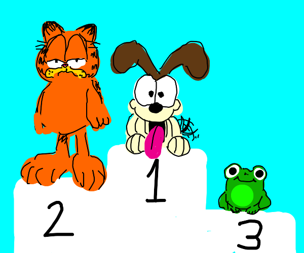1st place dog 2nd place Garfield 3rd Frog