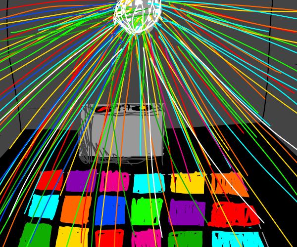 Disco lights and dance floor