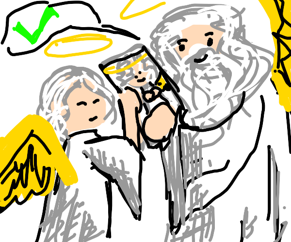 angel draws portrait and god thinks its good!