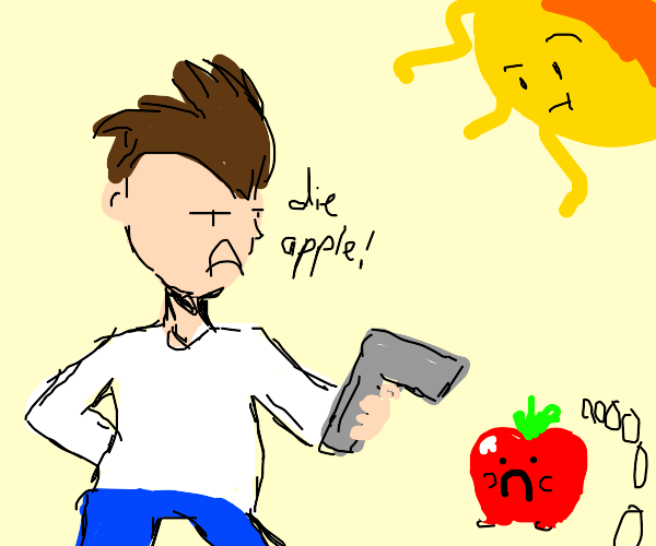 pointing a gun at an apple,, sun is confused