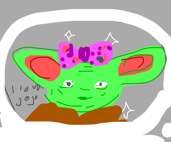 Baby yoda with JoJo Siwa clothes