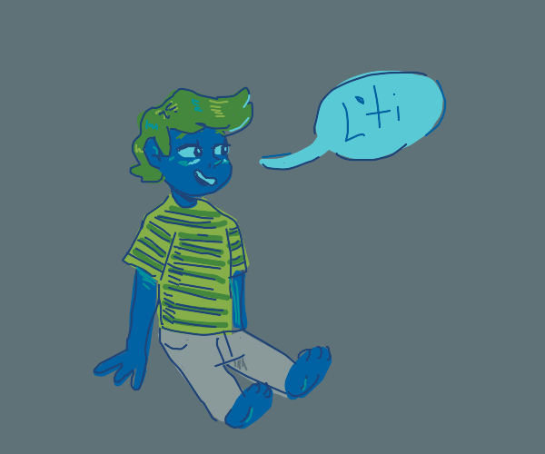 blue boy saying L'ti