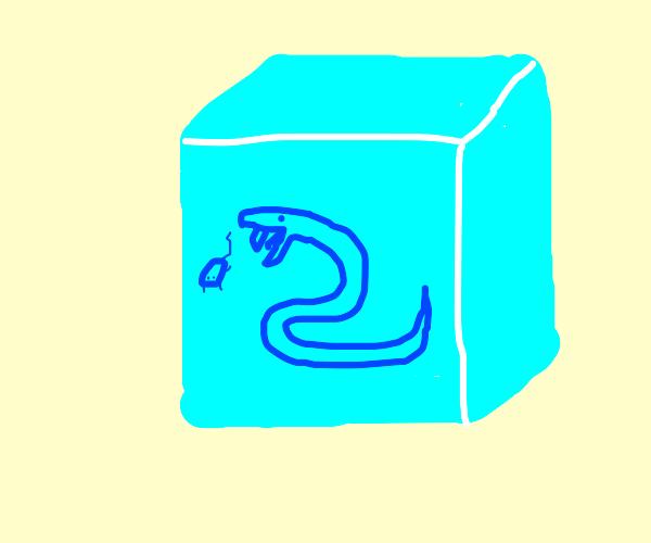 Frozen snake in ice