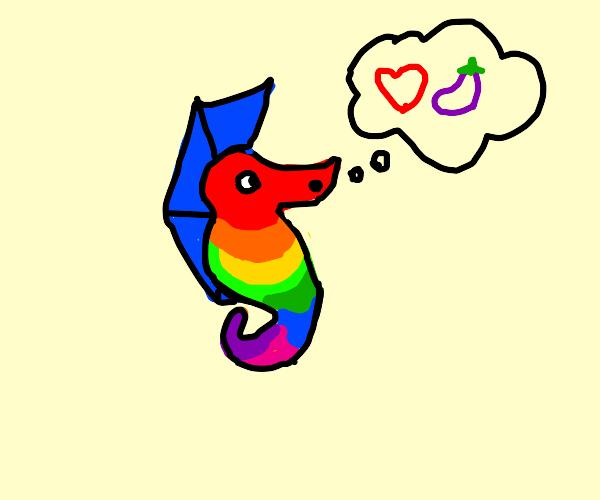 Rainbow seahorse likes eggplant emoji
