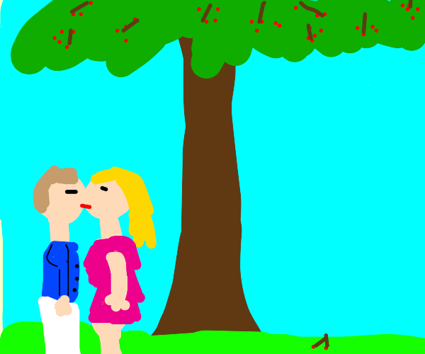 Man and Woman kissing under cherry trees