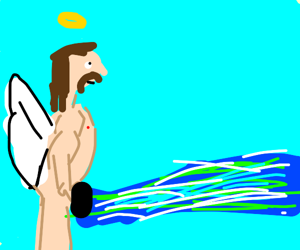 Angel pees blue plasma