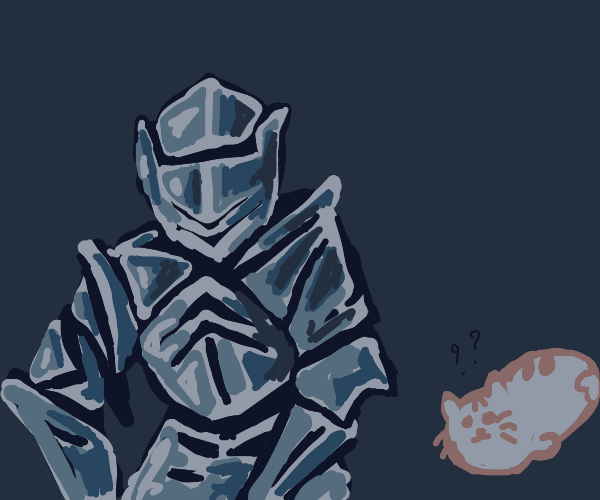white pusheen? armored knight with long limbs