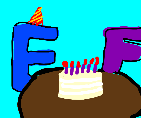the letter e is celebrating his birthday