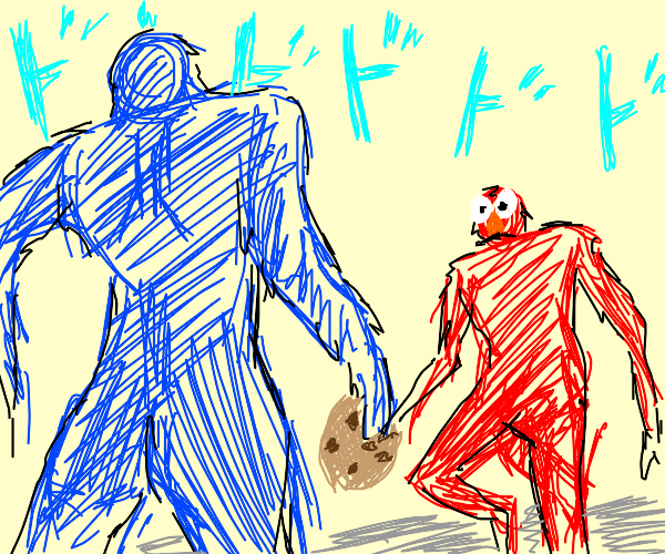 Elmo and cookie monster about to fight