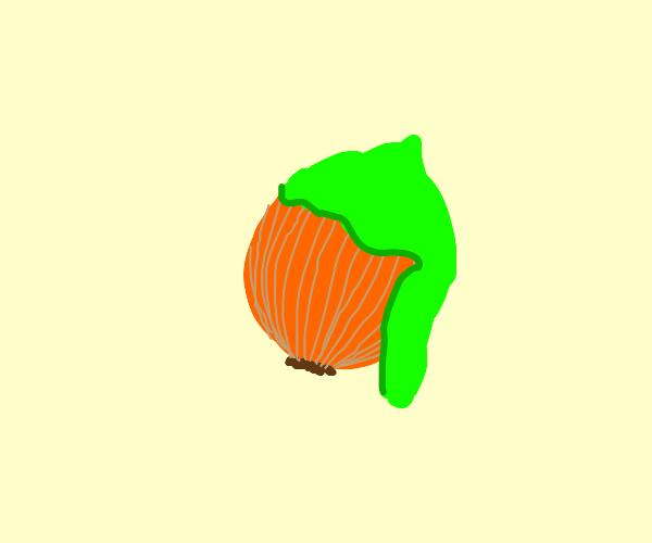 Green goo on an onion