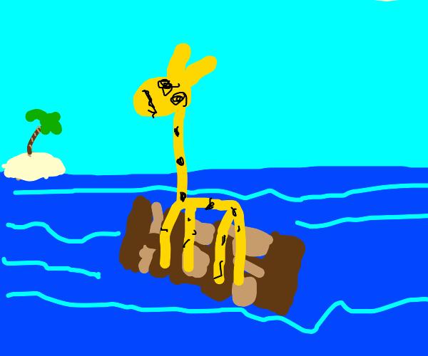 Geoffrey the giraffe on a raft