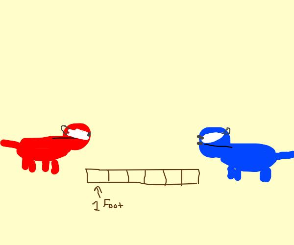Red dog and purple dog keep social distance