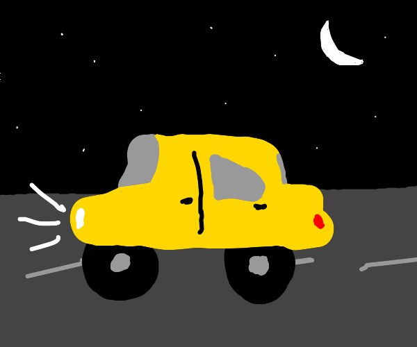 yellow car in the midst of night