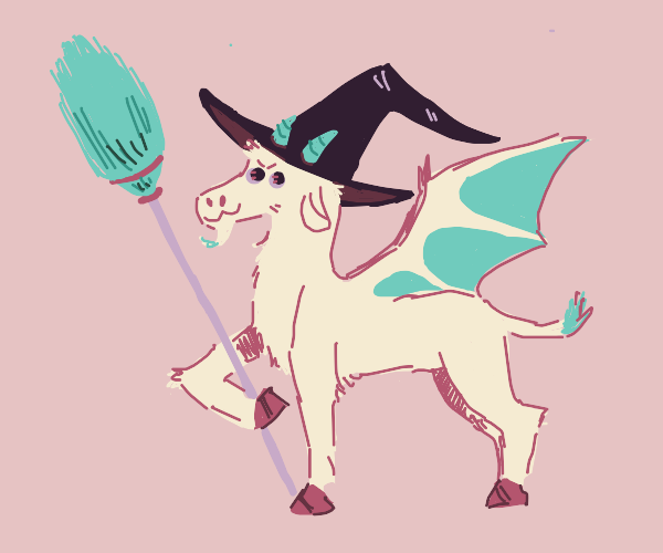 Cute goat dragon as a witch