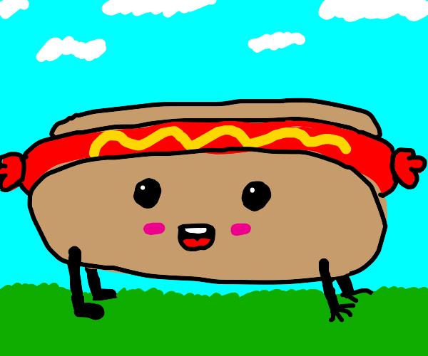 happy hot dog crawling