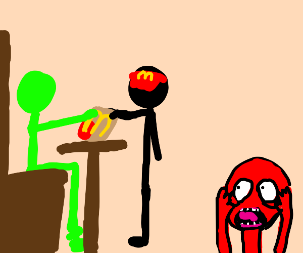 green man gets McDonald's, red man freaks out
