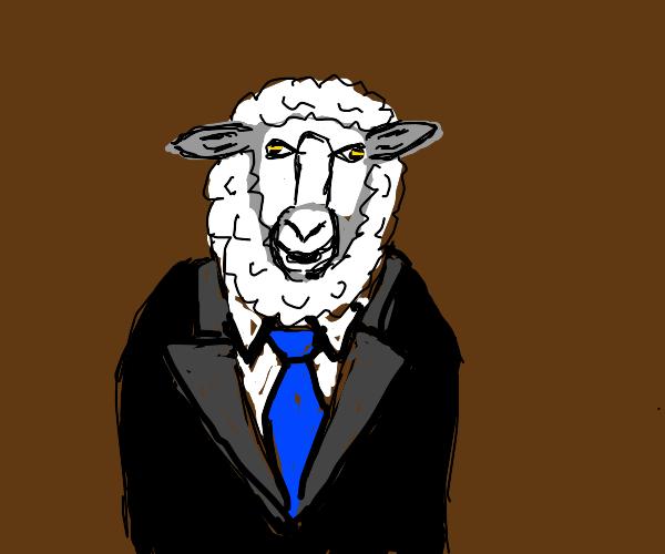 fancy sheep in a suit