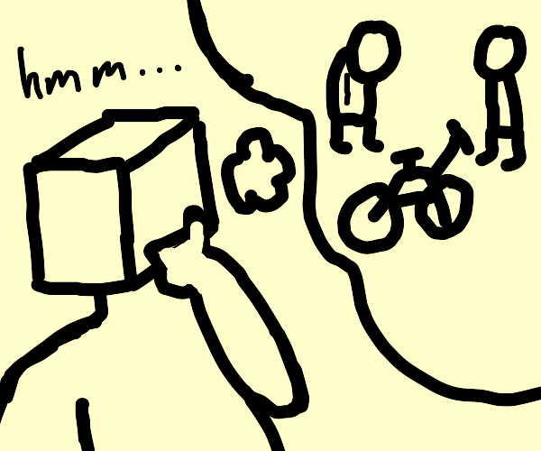 cube man thinking about 2 men and a bike
