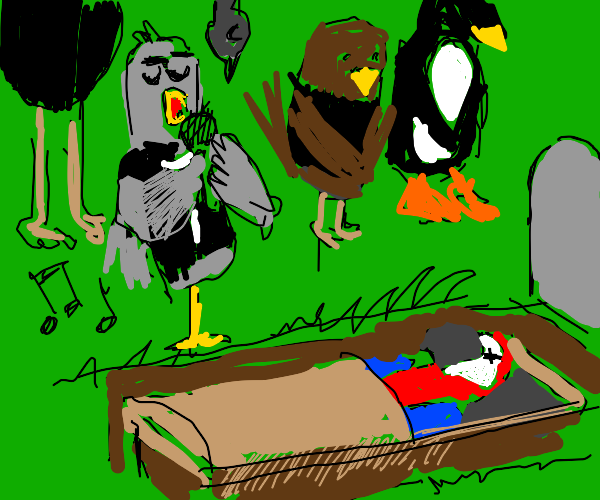 a bird sings to dead parrot