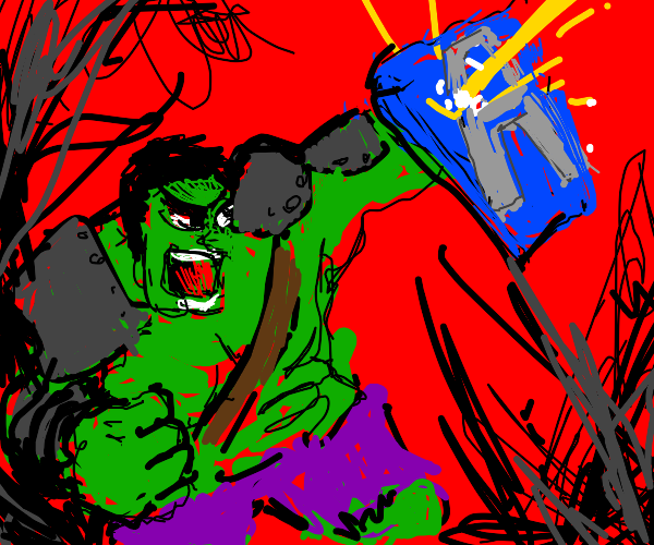 Angry Hulk with a blue shield