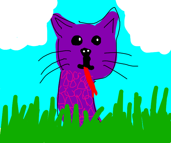 Purple snake with cat face in grass