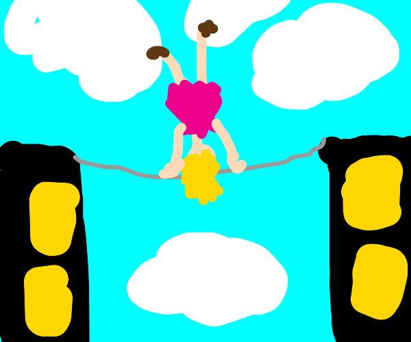 Girl Does a Handstand on a Tripwire