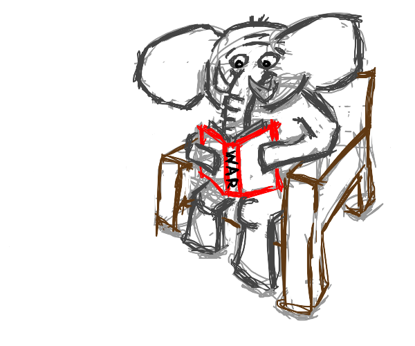 Elephant Reads a Book on Inhumanity