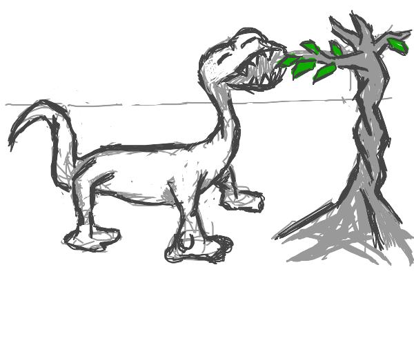 Cute Dinosaur eating  leaves
