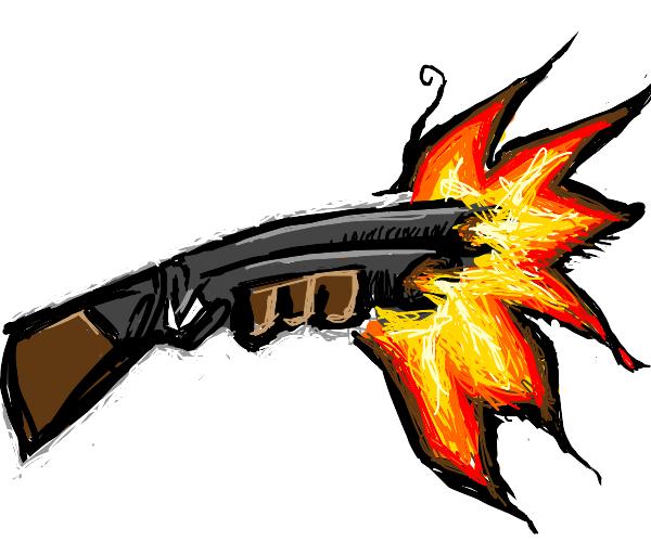 Double barrel shotgun being fired