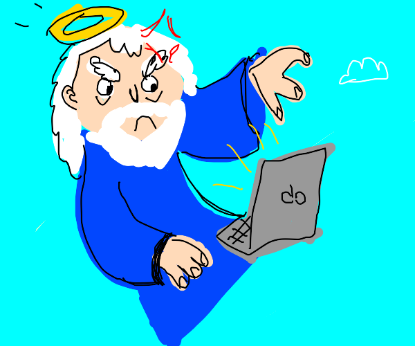 god angerly uses an apple laptop