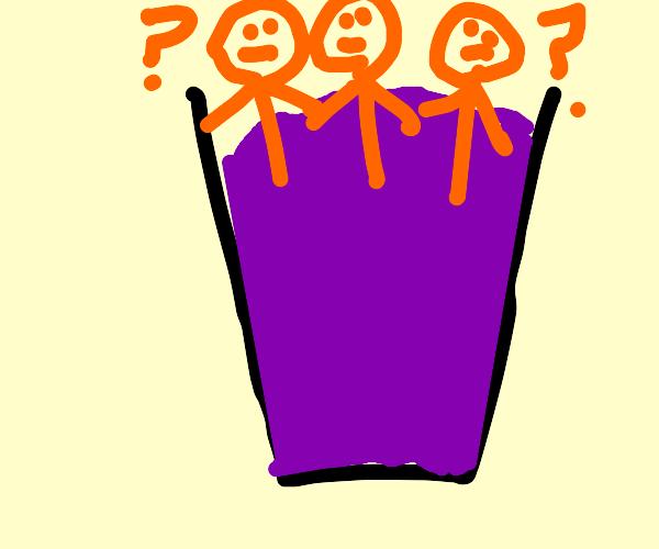 Confused orange guys inside purple liquid