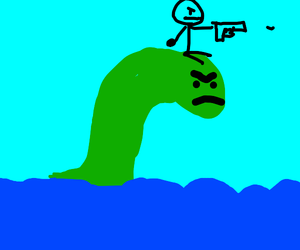 Man on Loch Ness with a gun that shoots worms