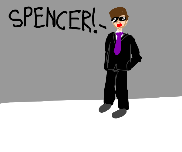 Well dressed man yelling SPENCER