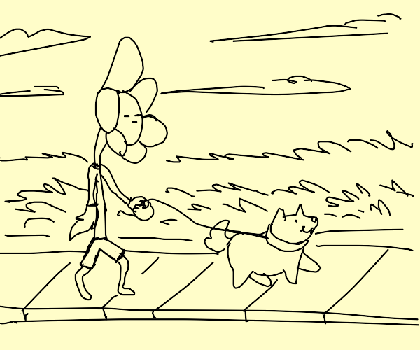 Flower takes dog for a walk