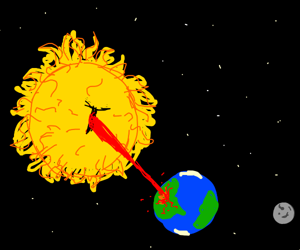 Angry sun fries Earth with laser eyes